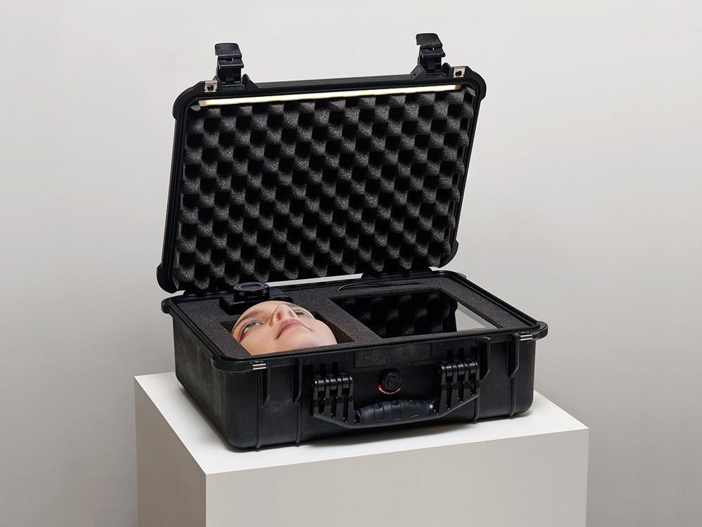 """Face Jagger"", 33x34x23 inches, 3D printed facemasks, flightcase, LED lightstrip, Jakob S. Boeskov, 2015"