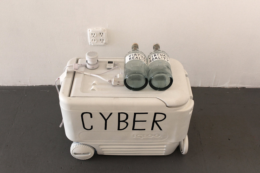 Cyber Bar, Spraypainted cooler, Mp3 player, USB speaker, vodka, 30x20x15 inches