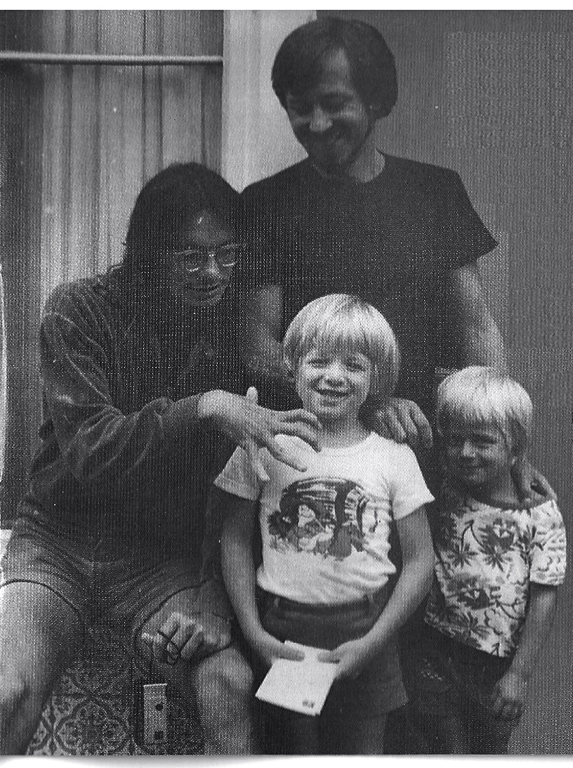 l-r Jaco Pastorius, Christian Garrick, Michael Garrick, Gabriel Garrick. Berkhamsted, 1976