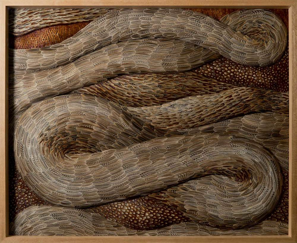 SPATE , 2015, Mixed media with pheasant feathers, 127 x 155 x 10 cm - Photo: JP Bland
