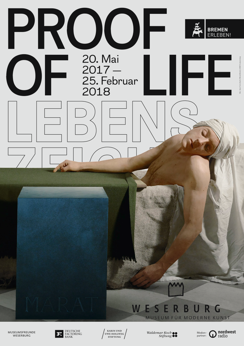 Exhibition Poster, featuring Gavin Turk's Death of Marat, 1998.