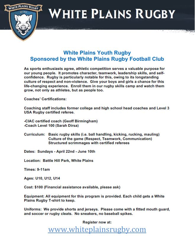 White Plains Youth Rugby Wprfc