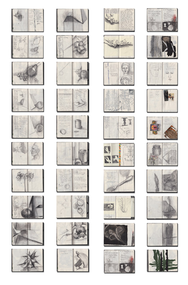 Lessons and research were documented in sketchbooks