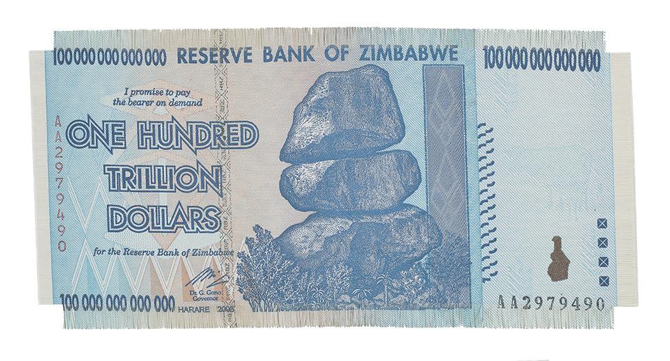 Z$100 Trillion  (2017) Large woven prints of Z$100 trillion