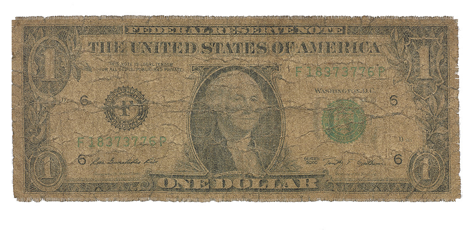 US$1  (2017) Large woven prints of filthy US$1 from Zimbabwe