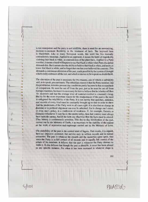 Samizdat  (2011) Page from The Theory and Practice of Oligarchical Collectivism, in theory. Woven inkjet archival prints on acid-free paper 28 x 19 cm