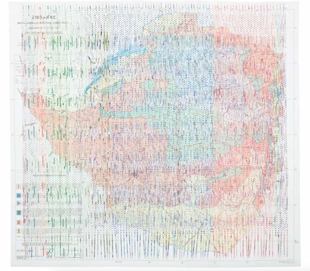 Z$5,508,918  (2017) Map of Zimbabwean farming regions woven with a progression of shredded Zimbabwean bank notes that amount to Z$5,508,918  82 x 89 cm