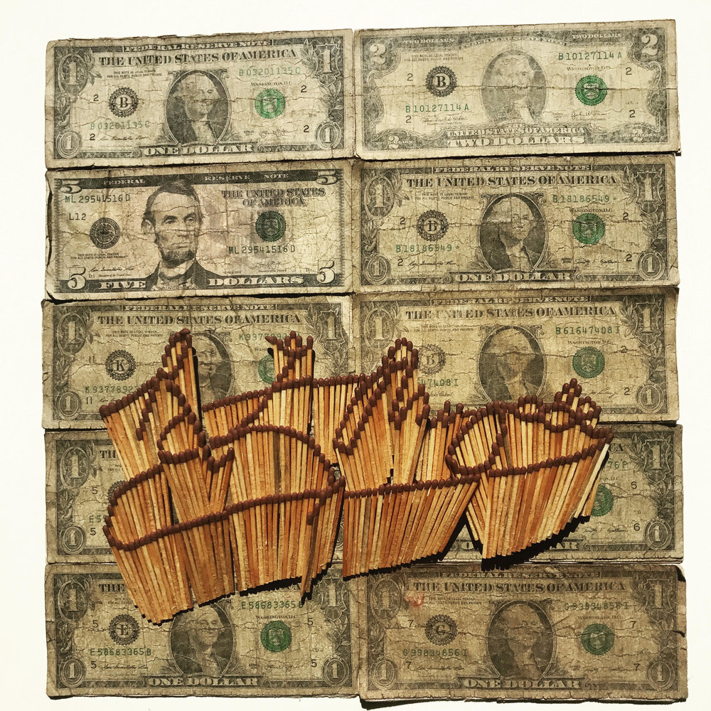 Dan Halter  President Robert Mugabe's Signature , 2017 Matchsticks and US dollars