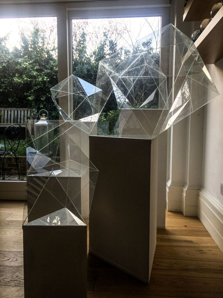 Shuster and Moseley  Antiprisms  (installation), 2016 Hand cut and bonded glass Varying dimensions