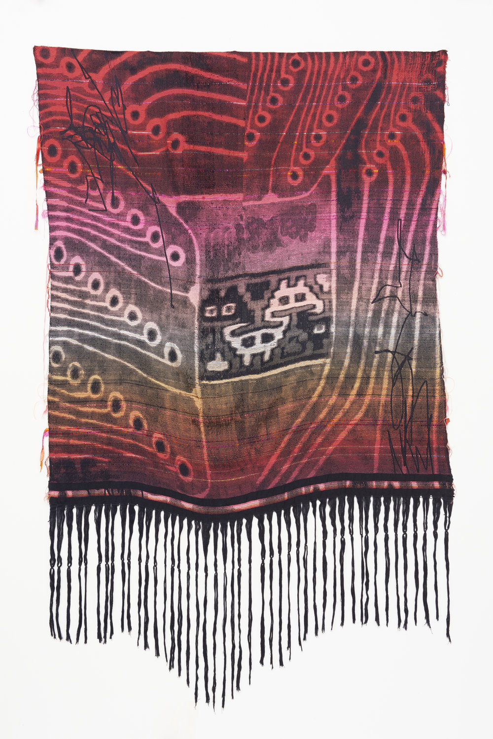 Robin Kang  Encrypted , 2017 Hand Jacquard woven cotte, tencel, and synthetic fibers 87 x 53 in