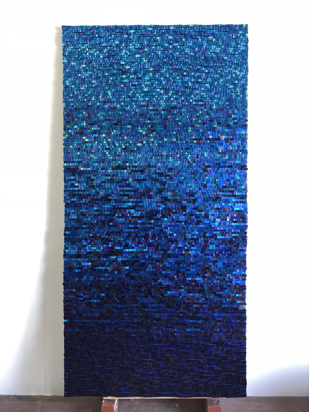 Blue Reflection No. 1801  Mixed Media on Wood Panel 72 x 36 inches