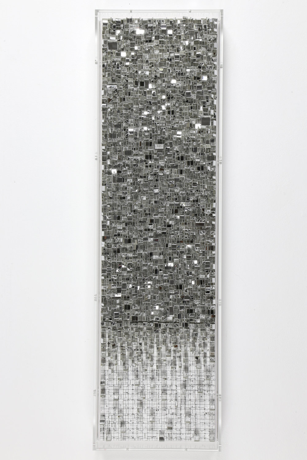 Reflection (2018), Plastic mirror, paper, ink-jet printing on wood panel, 35. X 10.2 x 2.9 inches