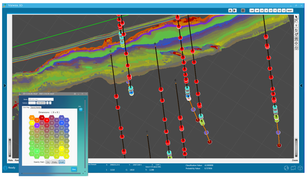 Seismic interpretation software with well logs