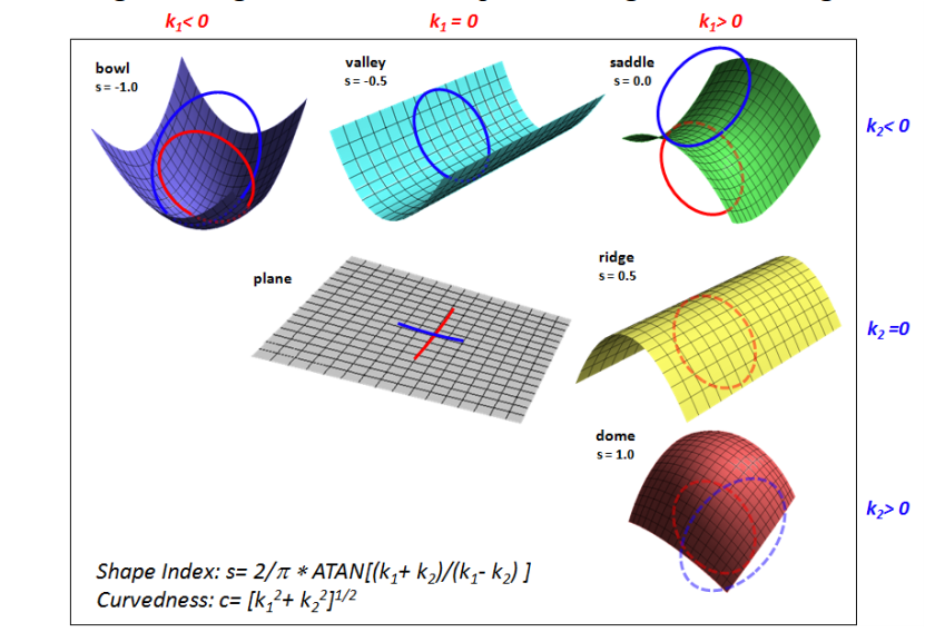 Figure 4: Structure shapes and their relationship with shape index and Curvedness. [ AASPI online document ]