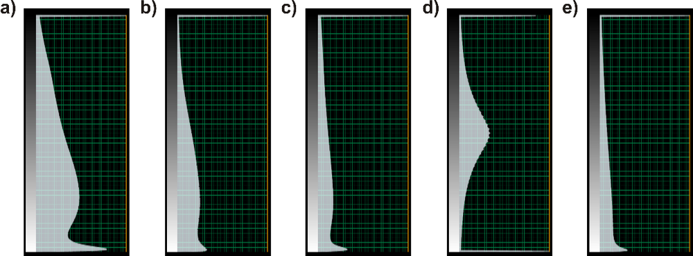Figure 2. Color bar examples of output attributes: peak magnitude (a), peak magnitude above average (b), range trimmed mean magnitude (c), residual (d), and roughness (e).