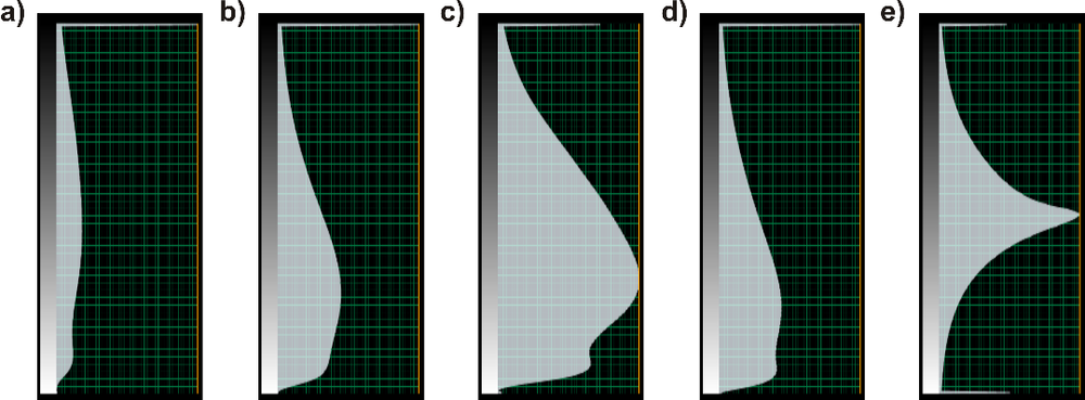 Figure 2. Color bar examples of output attributes: peak magnitude (a), peak magnitude above average (b), range trimmed mean magnitude (c), roughness (d), and slope (e).