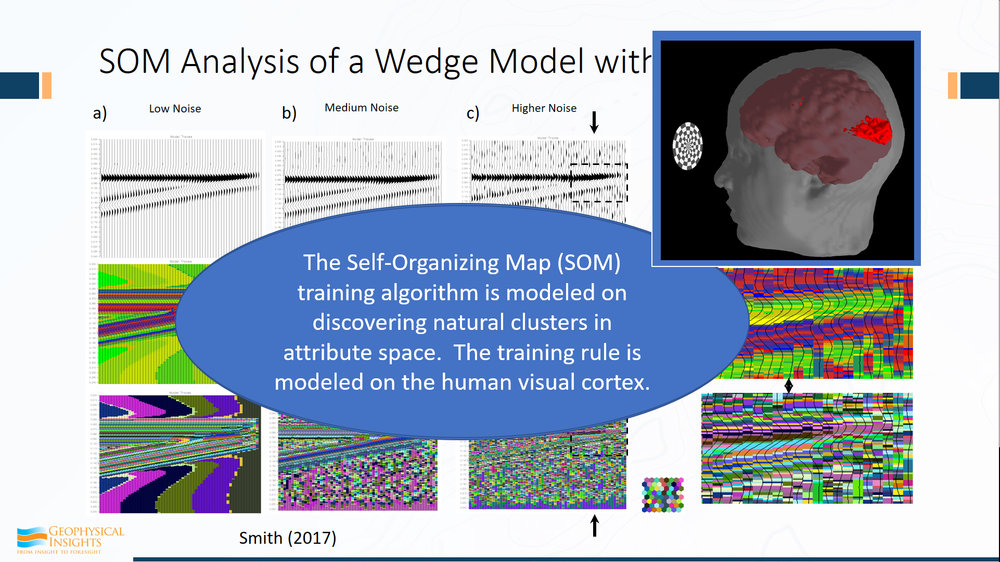 The self-organizing map, SOM, training algorithm is modeled on discovering of natural clusters in attribute space, using training rules based upon the human visual cortex.  Conceptually, this is a simple but powerful idea.  We can see examples in nature of simple rules that lead to profound results.