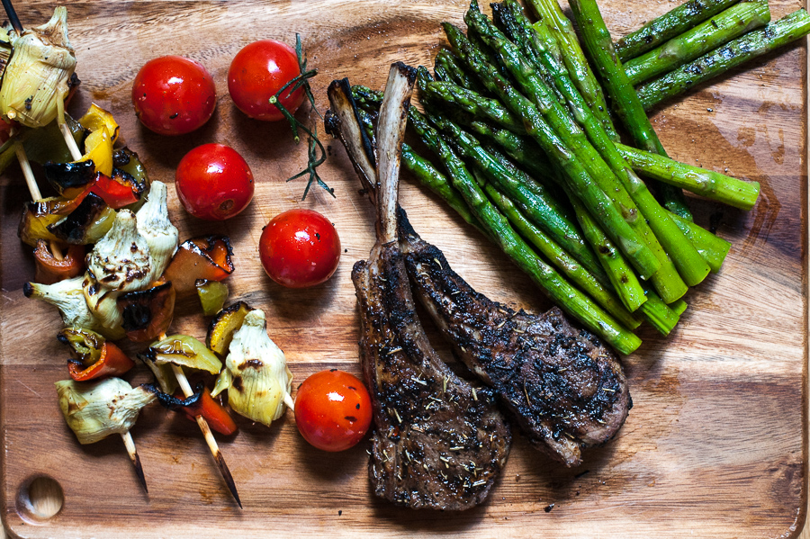 Grilled Lamb Chops & Vegetables