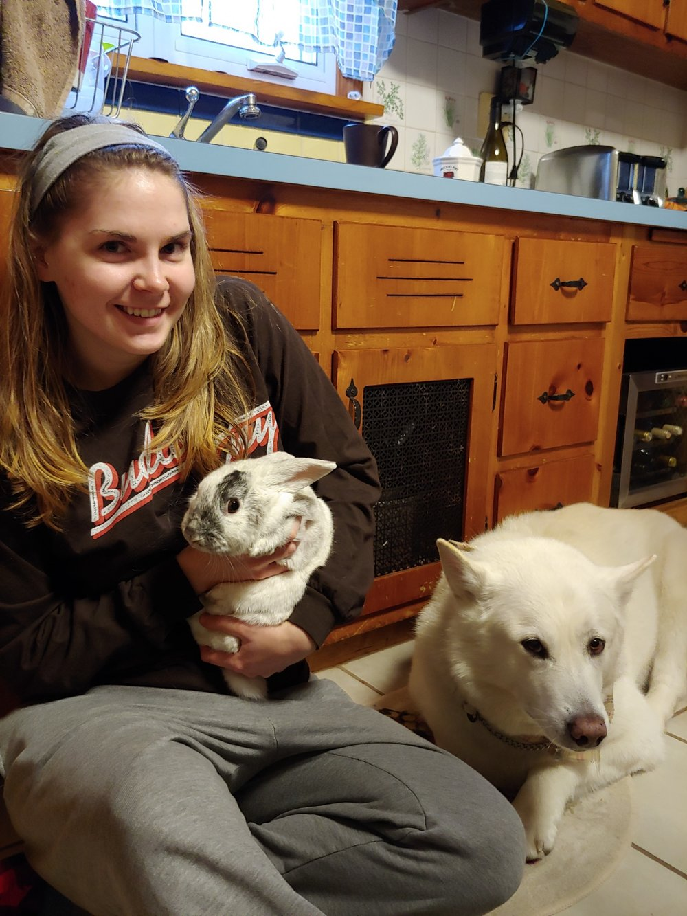 Jessie and her bunny, Rocky, and her dog, Laika!