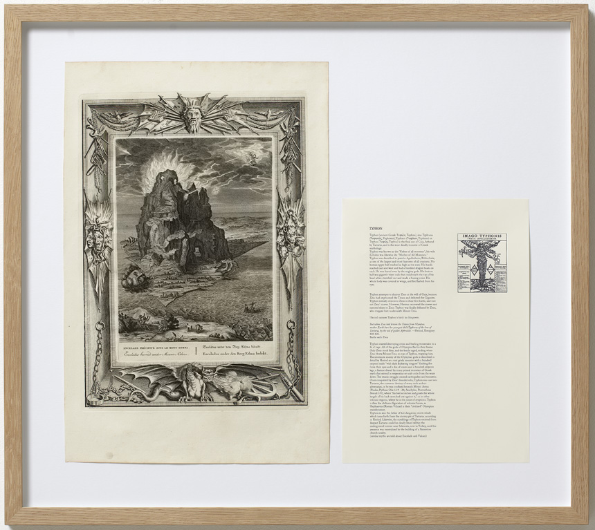 A PARALLELE MYTH THE DEATH OF THE GREEK GIANT TYPHON AND OTHER INTERPRETATIONS OF VORTEX 2014 Dimension: 58 x 65 cm Original etching from 1731 by B. Picart, text about Typhon.