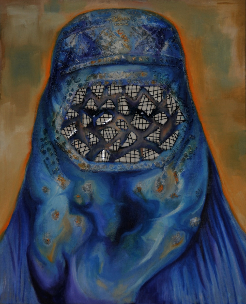 I am  Oil on Linen, Porcelain and Thread 50 x 40 cm  2012