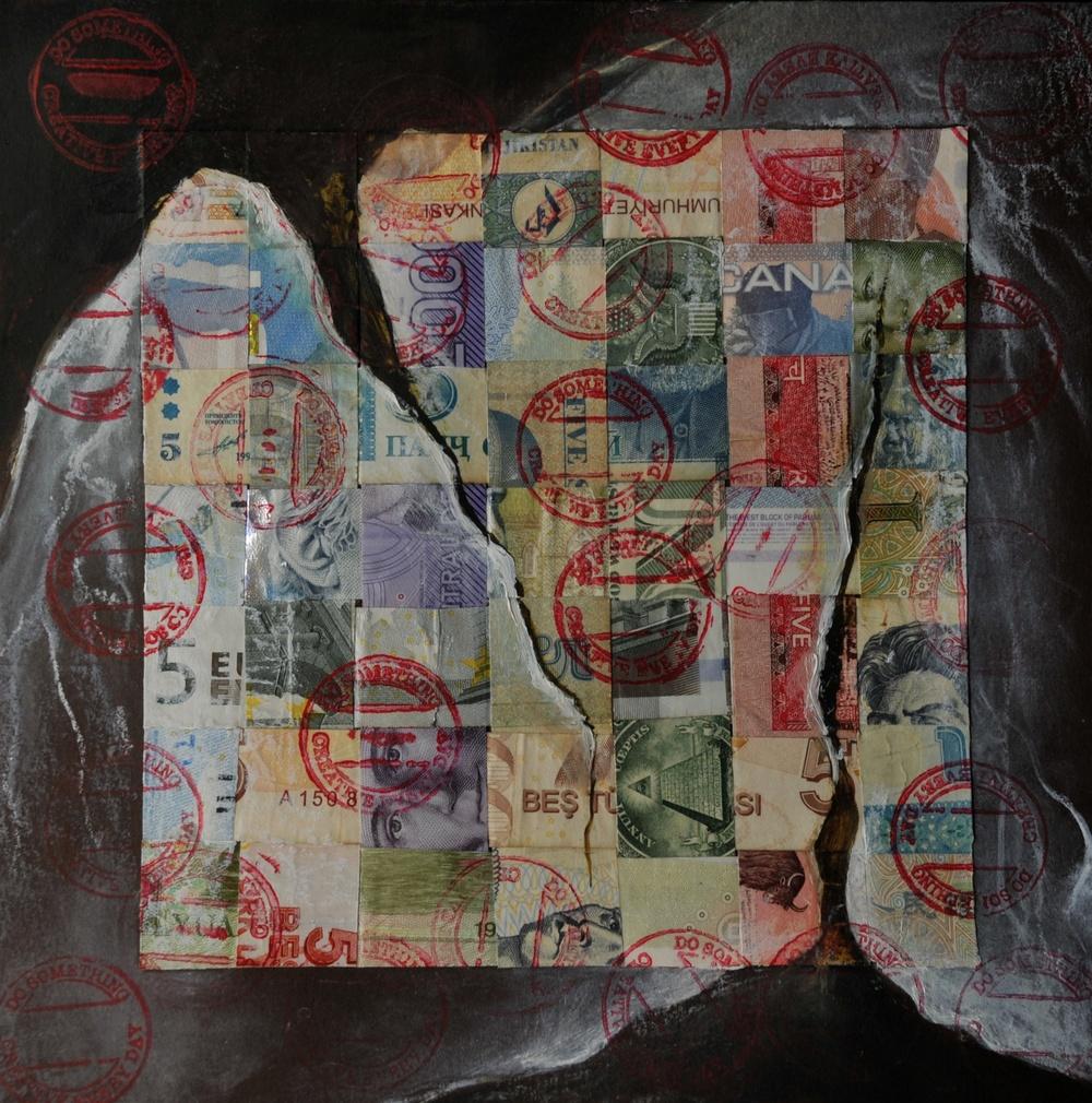 Money  /Mixed Media on Paper 20 x 20 cm  2012