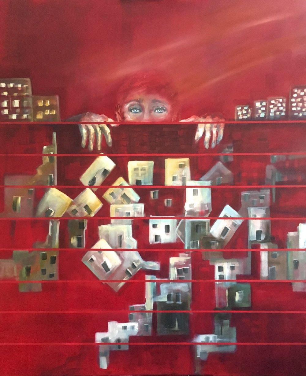 Fire Wall  /Oil on linen  120 x 100 cm  2016