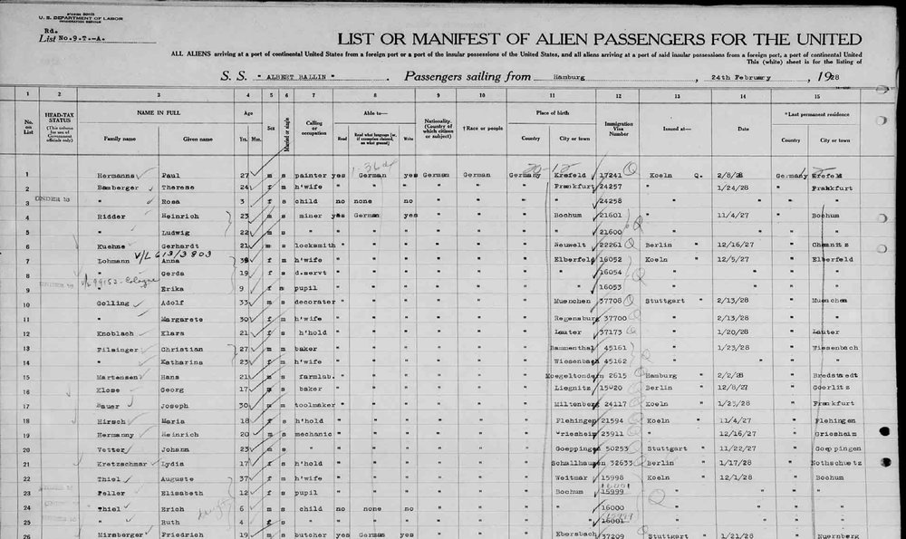 """My mother's mother – twelve year old, Elisabeth Peller listed on the passenger manifesto bound for Ellis Island in 1928. She would later swap out her German nickname """"Lisbet"""" for the Americanized """"Betty"""" and formally change the spelling of her name to """"Elizabeth"""" with an American """"Z."""""""