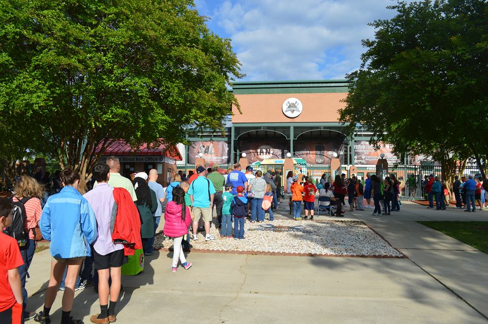 A line to the box office at the Lake Olmstead Stadium.