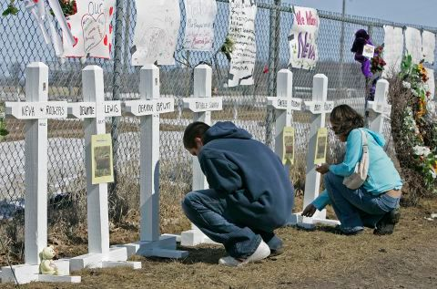 A memorial to the five students, one teacher and one security guard killed in the shootings at Red Lake Senior High School on March 21, 2005 Photo Credit:AP Photo/Ann Heisenfelt