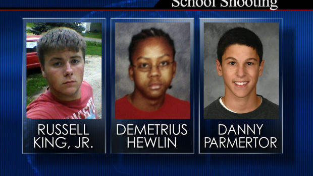 CBS's coverage of the Chardon High School killings on February 27, 2012 after shooting five people in the cafeteria. Danny Parmertor died instantly. Russell King, Jr and Demetrius Hewlin succumbed to their injuries the following day.