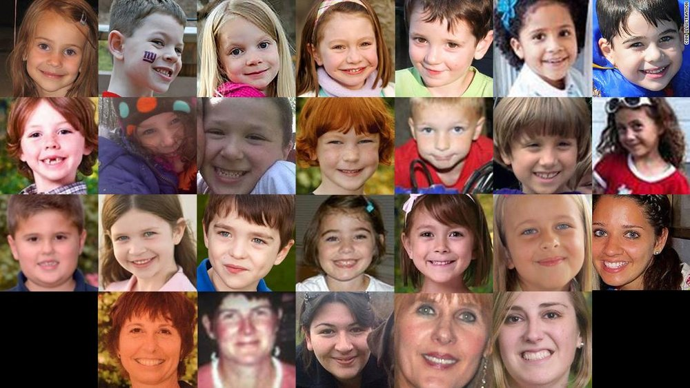 The 27 staff and students killed at Sandy Hook Elementary School on December 14, 2012. Out of the total shot, two survived their injuries.