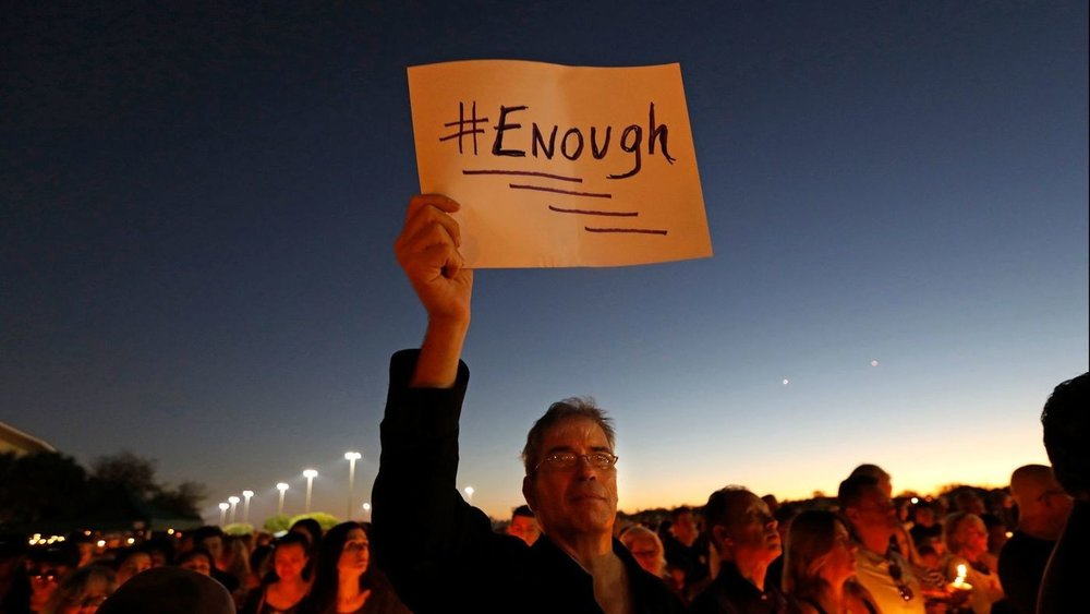 An image from the vigil for the latest victims of a mass shooting. Seventeen were killed at Marjory Stoneman Douglas High School on February 14, 2018. Photo Credit:Carolyn Cole / Los Angeles Times