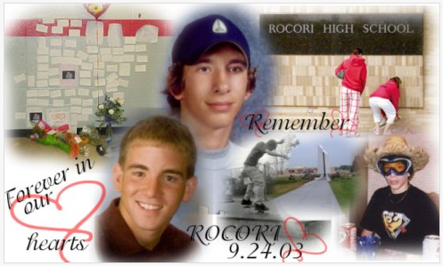 Designed by 2006 Rocori High School graduate Erin Herberg to commemorate her fallen classmates who were shot and killed in the beginning of the 2003 school year.