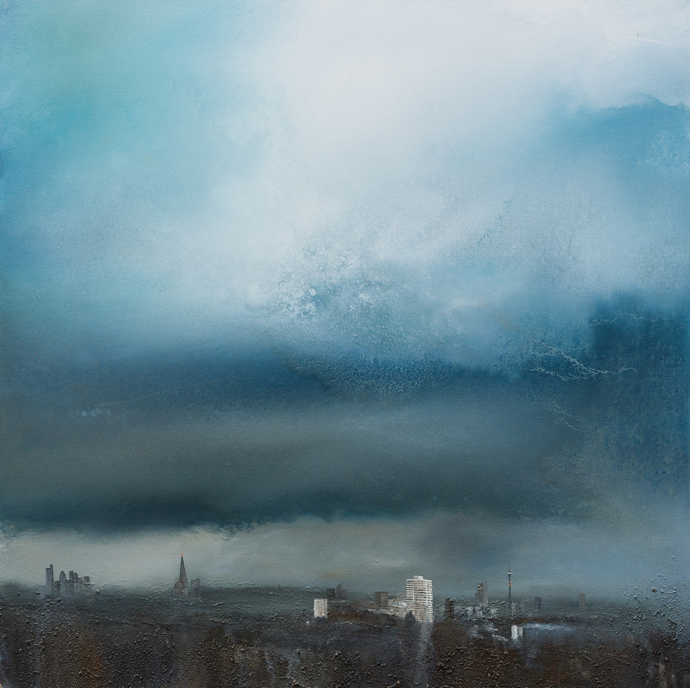 The night's slow care Oil and mixed media on canvas 80x80cm