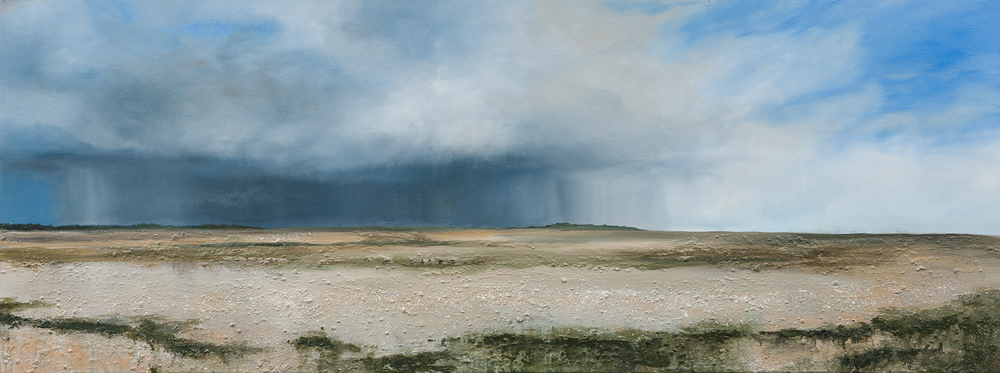 Passing through an undiscovered country Oil and mixed media on canvas 45x120cm