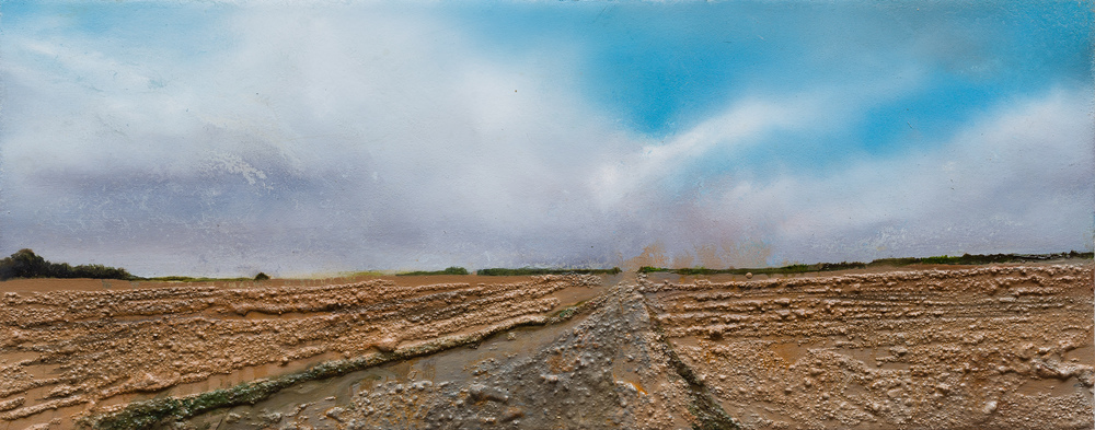 Coming up over the horison Oil and mixed media on board 16x40cm