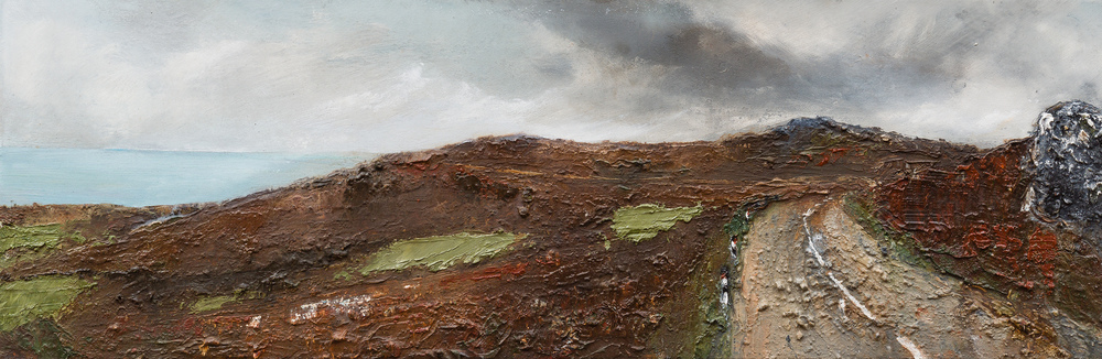 In one world with you Oil and mixed media on board 15x45cm