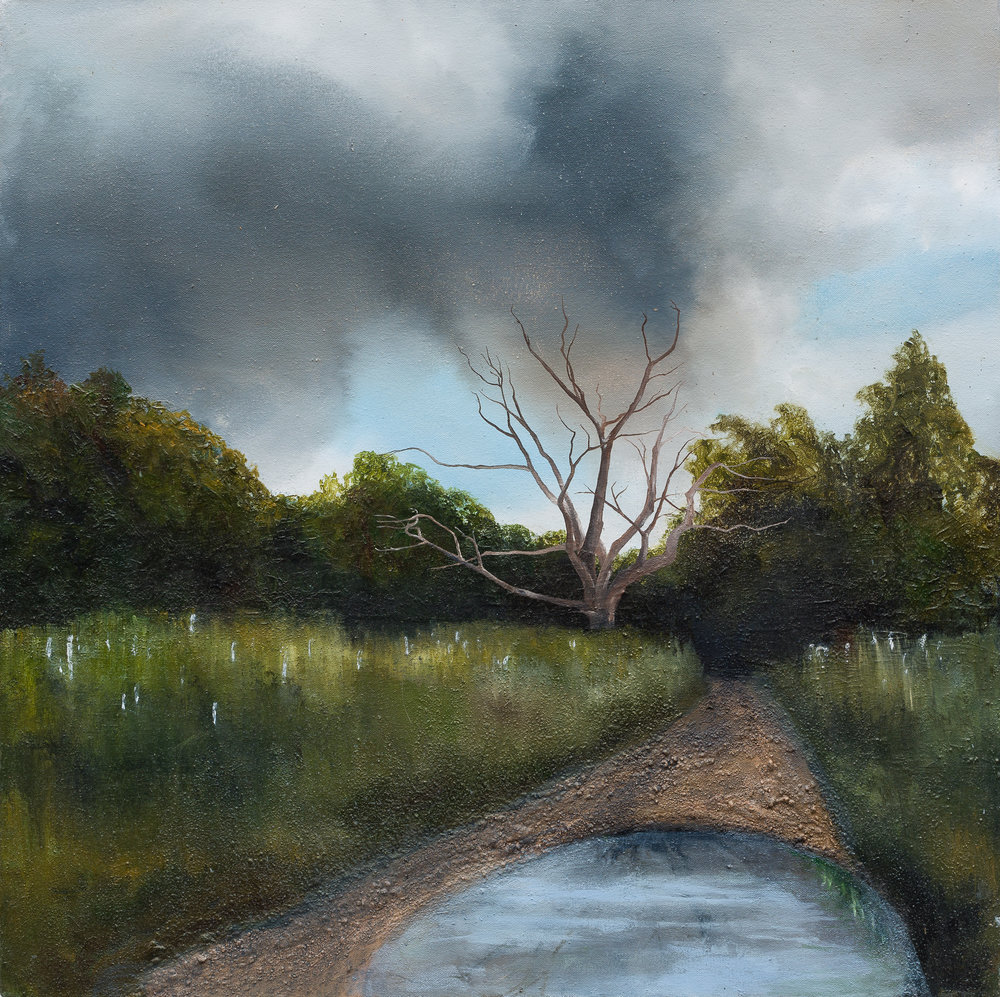 Through the earth -  Like the current of life that runs through the earth.   Oil and mixed media on canvas 60x60cm