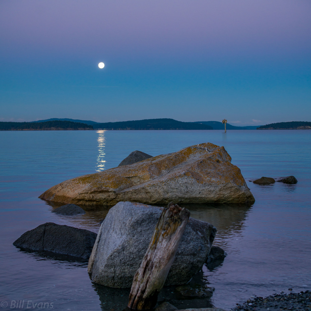 Lopez Island Full Moon Sunrise