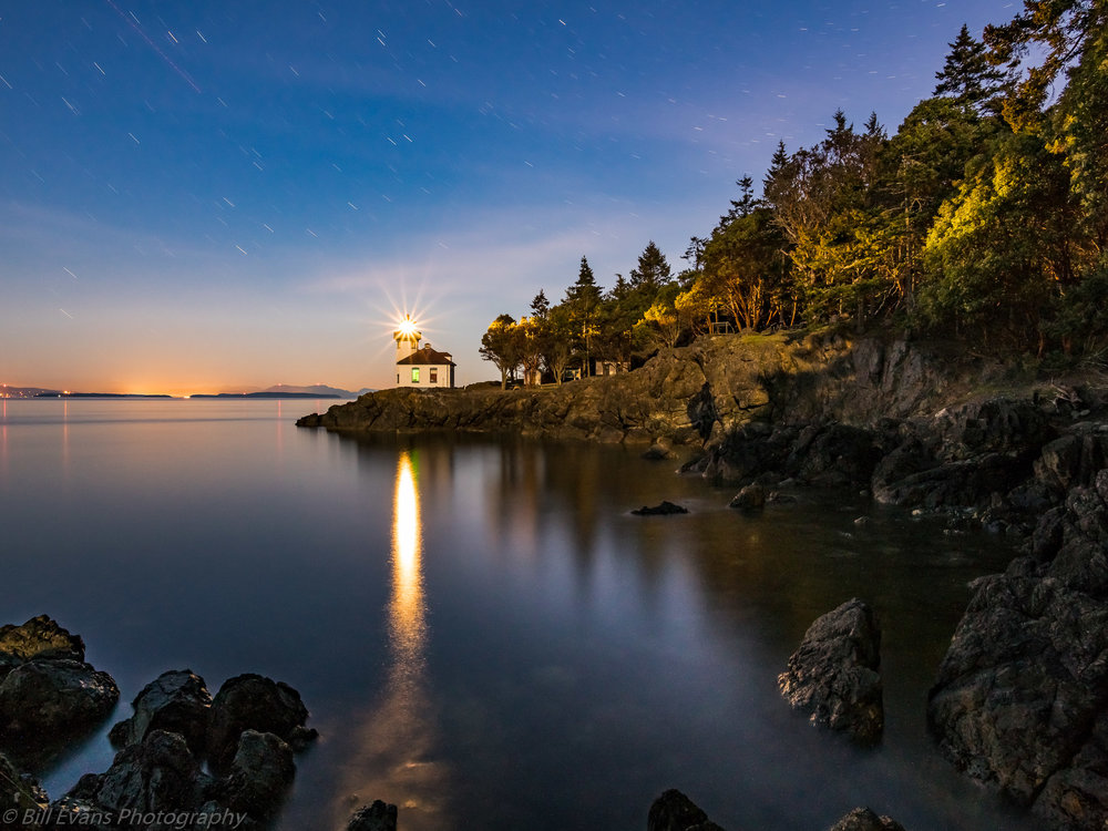 Image No. 6 - Moonlit Lime Kiln Lighthouse (San Juan Island, WA)   Sony A7Rii + Adapted Lens (244s + iso 1250)