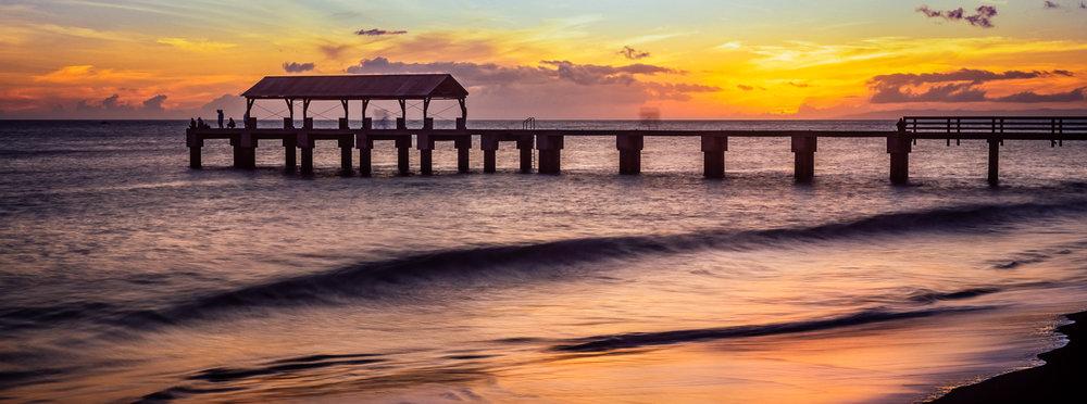 Waimea Pier -Sunset Long Exposure - Waimea, Kauai HI Hasselblad Xpan + Fujifilm Velvia 50