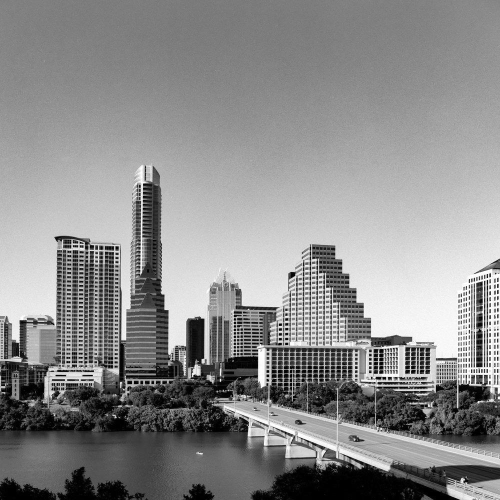 Austin Skyline - Austin TX Hasselblad Flexbody + Fujifilm Across 100
