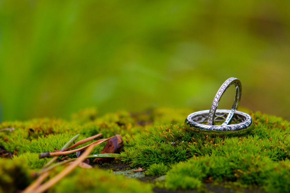 Macro wedding ring shot on moss