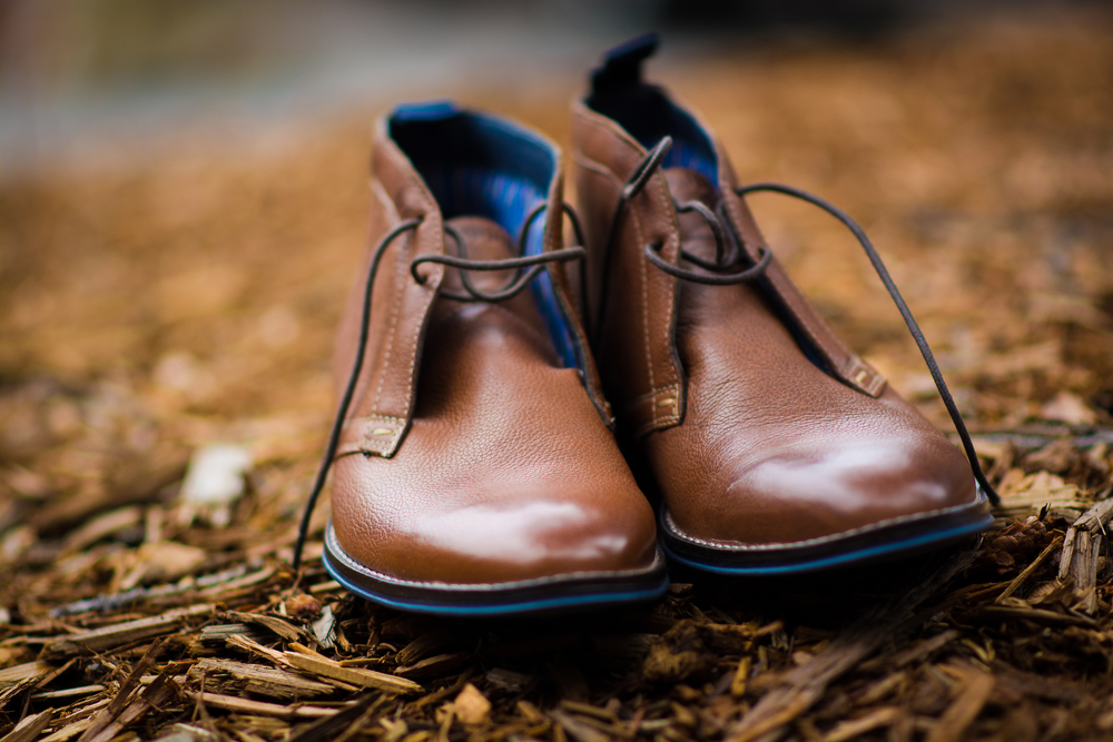 Groom's brown shoes, close up marco photography