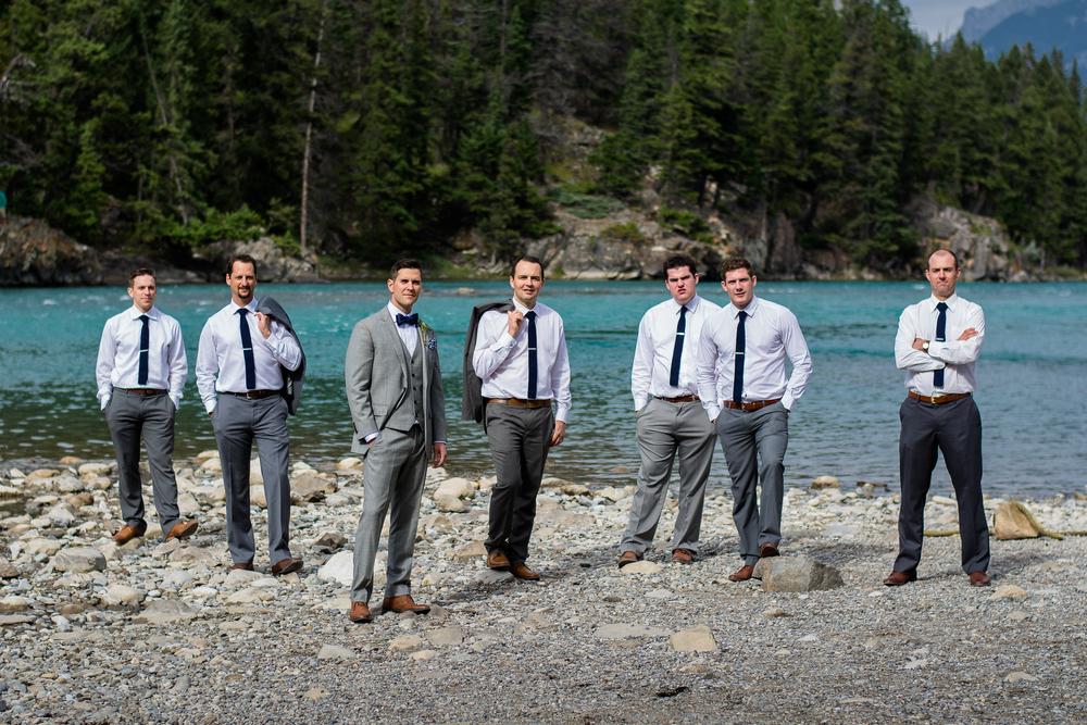Wedding party, Groom and groomsmen at Bow Falls, Banff, Alberta, Canada
