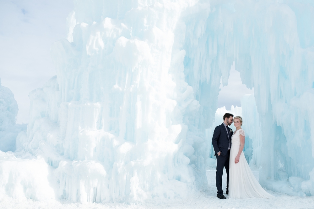 Married wedding bride and groom in an ice castle