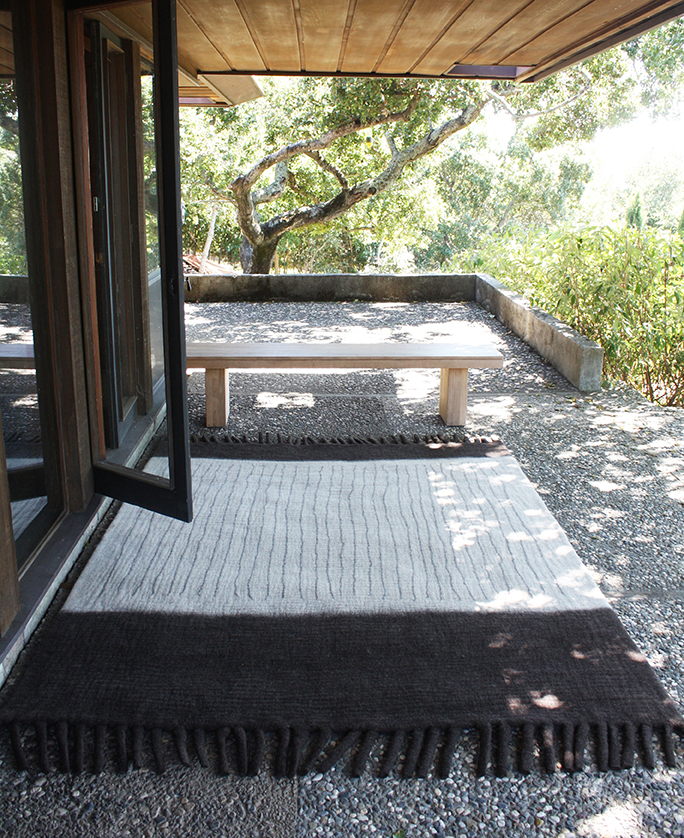 6'x8' Field rug, of the Disc Interiors collection, uses fringe and yarn to create wabi-sabi line patterns inspired by antique Japanese textiles.