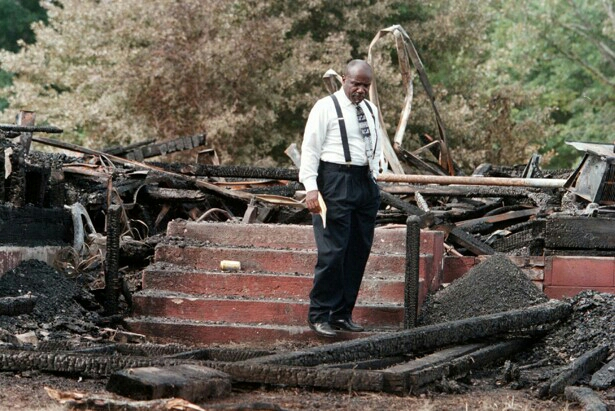 The 1996 Matthews-Murkland Presbyterian Church burning in Charlotte, NC (Chuck Burton/AP)
