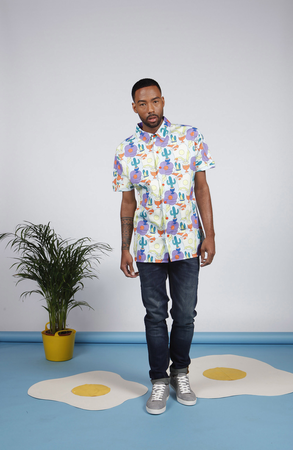 McIndoe Design Tropical Egg Print Shirt featuring TWO kinds of eggs and cheddar. (image via  mcindoedesign.com )